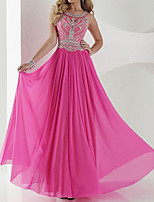 cheap -A-Line Luxurious Sparkle Engagement Formal Evening Dress Jewel Neck Sleeveless Sweep / Brush Train Chiffon with Pleats Beading 2020