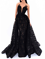 cheap -Mermaid / Trumpet Beautiful Back Sexy Engagement Formal Evening Dress Illusion Neck Sleeveless Detachable Lace with Appliques 2020