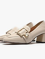 cheap -Women's Heels Summer Block Heel Closed Toe Daily PU Black / Beige
