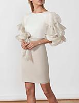 cheap -Sheath / Column Elegant Minimalist Party Wear Cocktail Party Dress Jewel Neck Half Sleeve Short / Mini Stretch Satin with Sash / Ribbon 2020