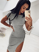 cheap -Women's Sheath Dress Maxi long Dress - Short Sleeves Solid Color Split Summer Sexy Daily 2020 Blue Gray S M L XL