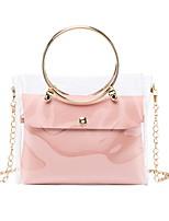 cheap -Women's Zipper PU Leather Bag Set Laser Jelly Bags Solid Color 2 Pieces Purse Set White / Black / Purple
