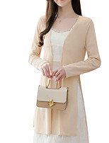cheap -Women's Trench Coat Daily Long Solid Colored Black / Beige S / M / L