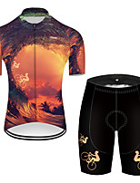 cheap -21Grams Men's Short Sleeve Cycling Jersey with Shorts Nylon Polyester Black / Yellow 3D Gradient Bike Clothing Suit Breathable 3D Pad Quick Dry Ultraviolet Resistant Reflective Strips Sports 3D