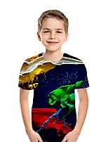 cheap -Kids Boys' Street chic 3D Short Sleeve Tee Rainbow