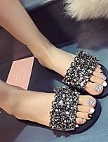 cheap -Women's Slippers & Flip-Flops Summer Flat Heel Round Toe Daily Solid Colored PU Black / Silver