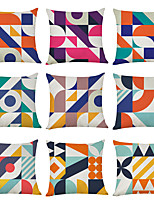 cheap -9 pcs Linen Pillow Cover, Mondriania Geometric Casual Modern Square Traditional Classic