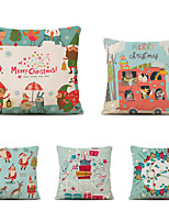 cheap -Set of 5 Cartoon Christmas Linen Square Decorative Throw Pillow Cases Sofa Cushion Covers 18x18
