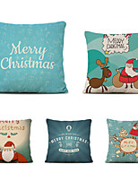cheap -Set of 5 Merry Christmas Decorative Polyester Pillowcases Christmas Pillow Case Cover Santa Claus Elk Pillowcase