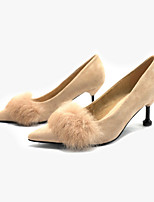 cheap -Women's Heels Spring / Fall Stiletto Heel Pointed Toe Daily Suede Almond / Black