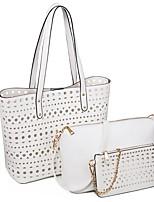 cheap -Women's Zipper PU Leather Bag Set Bag Sets Solid Color White / Black