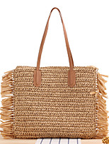 cheap -Women's Tassel Straw Top Handle Bag 2020 Solid Color Camel / Beige / Straw Bag / Fall & Winter