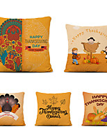 cheap -Set of 5 Thanksgiving Linen Square Decorative Throw Pillow Cases Sofa Cushion Covers 18x18