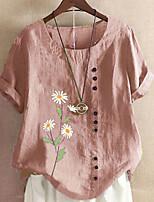 cheap -Women's T-shirt Graphic Tops Round Neck Daily Yellow Blushing Pink S M L XL 2XL 3XL 4XL 5XL