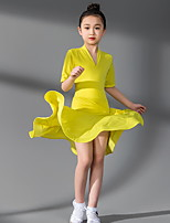 cheap -Latin Dance Kids' Dancewear Dress Ruching Girls' Training Daily Wear Short Sleeve Polyester