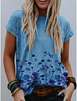 cheap -Women's T-shirt Floral Round Neck Tops Blue Khaki Gray