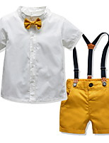 cheap -Kids Toddler Boys' Basic Solid Colored Short Sleeve Clothing Set Yellow