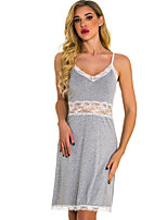 cheap -Women's Backless Suits Nightwear Solid Colored Gray S M L