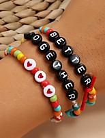 cheap -3pcs Women's Bead Bracelet Vintage Bracelet Bracelet Beaded Alphabet Shape Heart Classic Trendy Fashion Colorful Boho Resin Bracelet Jewelry Rainbow For Party Evening Gift Date Beach Festival