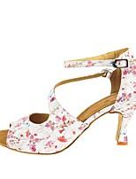 cheap -Women's Latin Shoes PU Heel Cuban Heel Dance Shoes Red / White