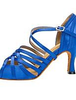 cheap -Women's Latin Shoes PU Heel Cuban Heel Dance Shoes Blue