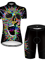 cheap -21Grams Women's Short Sleeve Cycling Jersey with Shorts Nylon Polyester Black / Blue 3D Gradient Skull Bike Clothing Suit Breathable 3D Pad Quick Dry Ultraviolet Resistant Reflective Strips Sports 3D