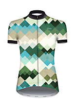cheap -21Grams Women's Short Sleeve Cycling Jersey Nylon Polyester Gray+Green Plaid / Checkered Gradient Geometic Bike Jersey Top Mountain Bike MTB Road Bike Cycling Breathable Quick Dry Ultraviolet