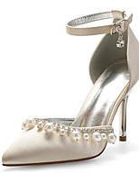 cheap -Women's Wedding Shoes Spring / Summer Stiletto Heel Pointed Toe Sexy Minimalism Wedding Party & Evening Rhinestone / Imitation Pearl Solid Colored Satin White / Black / Purple