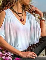 cheap -Women's T-shirt Tie Dye V Neck Tops Summer White Blue Purple