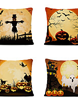 cheap -Set of 4 Cartoon Halloween Linen Square Decorative Throw Pillow Cases Sofa Cushion Covers 18x18