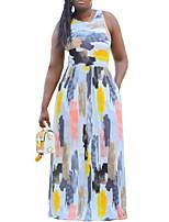 cheap -Women's A-Line Dress Maxi long Dress - Sleeveless Geometric Summer Work 2020 White L XL XXL XXXL XXXXL