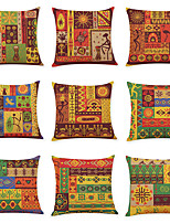 cheap -9 pcs Linen Pillow Cover, Indian Style Square Traditional Classic
