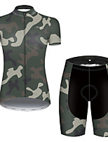 cheap -21Grams Women's Short Sleeve Cycling Jersey with Shorts Nylon Polyester Camouflage Patchwork Camo / Camouflage Bike Clothing Suit Breathable 3D Pad Quick Dry Ultraviolet Resistant Reflective Strips