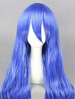 cheap -Cosplay Wig Yoshino Date A Live Curly Cosplay Asymmetrical With Bangs Wig Very Long Blue Synthetic Hair 28 inch Women's Anime Cosplay Lovely Blue