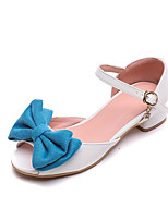 cheap -Girls' Flower Girl Shoes PU Sandals Block Heel Sandals Big Kids(7years +) Bowknot / Buckle Pink / Orange / Blue Summer / Peep Toe / Party & Evening / Color Block