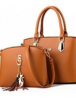 cheap -Women's Zipper PU Bag Set Bag Sets Solid Color Earth Yellow / Wine / Black