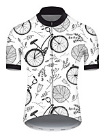 cheap -21Grams Men's Short Sleeve Cycling Jersey Nylon Polyester Gray+White Leaf Floral Botanical Bike Jersey Top Mountain Bike MTB Road Bike Cycling Breathable Quick Dry Ultraviolet Resistant Sports