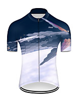 cheap -21Grams Men's Short Sleeve Cycling Jersey Nylon Polyester Blue / White 3D Gradient Rocket Bike Jersey Top Mountain Bike MTB Road Bike Cycling Breathable Quick Dry Ultraviolet Resistant Sports