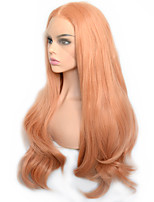 cheap -Pastel Orange Natural Wave Synthetic Lace Front Wig Heat Resistant Daily Wearing For Women