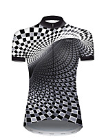 cheap -21Grams Women's Short Sleeve Cycling Jersey Nylon Polyester Black / White Plaid Checkered 3D Gradient Bike Jersey Top Mountain Bike MTB Road Bike Cycling Breathable Quick Dry Ultraviolet Resistant