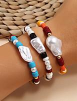 cheap -3pcs Women's Bead Bracelet Vintage Bracelet Bracelet Classic Lucky Classic Trendy Fashion Colorful Boho Plastic Bracelet Jewelry Rainbow For Gift Date Birthday Beach Festival