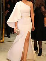 cheap -Sheath / Column Elegant Minimalist Engagement Prom Dress One Shoulder Long Sleeve Floor Length Satin with Split 2020