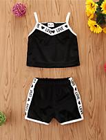 cheap -Baby Girls' Basic Print Sleeveless Regular Regular Clothing Set Black
