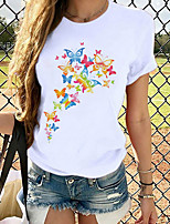 cheap -Women's T-shirt Graphic Prints Tops Round Neck 100% Cotton Daily White S M L XL 2XL 3XL