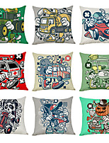 cheap -9 pcs Linen Pillow Cover, Modern Car Geometric Casual Modern Square Traditional Classic