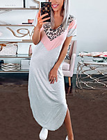 cheap -Women's Shift Dress Midi Dress - Short Sleeves Leopard Solid Color Patchwork Summer Fall Casual Boho Holiday Going out 2020 Black Gray S M L XL