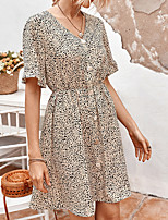 cheap -Women's A-Line Dress Knee Length Dress - Short Sleeves Floral Summer Casual Chinoiserie 2020 Light Brown Black Khaki S M L XL