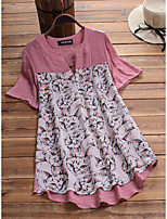 cheap -Women's Blouse Animal Cat Tops - Print V Neck Loose Basic Daily Summer Blushing Pink Green M L XL 2XL 3XL 4XL