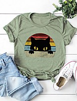 cheap -Women's Cartoon T-shirt Daily Wine / White / Black / Yellow / Blushing Pink / Army Green / Green / Light gray