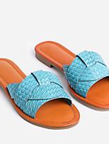 cheap -Women's Sandals Summer Flat Heel Open Toe Daily PU Black / Blue